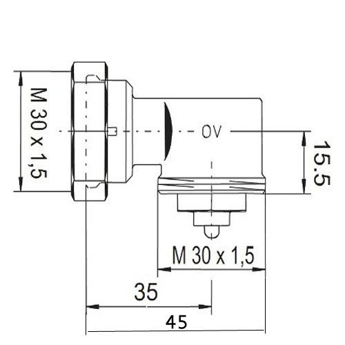 Угловой адаптер для термостата Oventrop M30x1,5 - 1