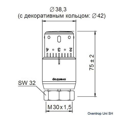 Термостат Oventrop Uni SH М30x1.5 хромированная 1012069 - 1
